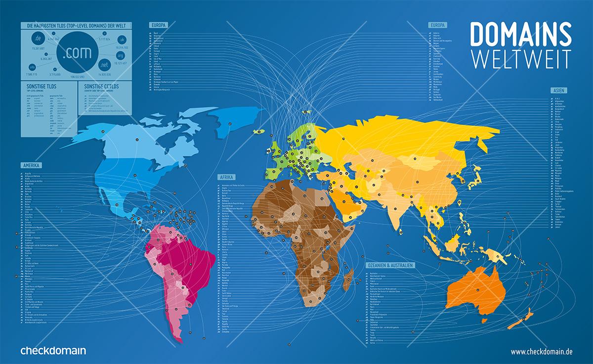 Infografik Plakat: Domainweltkarte